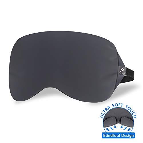Sleep Eye Mask - Patented Nose Baffle Design, Blocks Out 99% Light, Handmade, Super Soft Sleep Mask for Home/Night/Shift Work, Comfortable Flight Sleeping Eye Mask for Men/Women, One Travel Bag, Grey