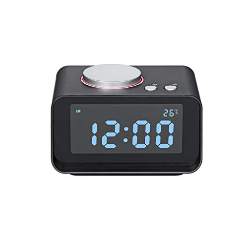 (Tll-mm Bluetooth Speaker Alarm Clock USB LCD Display Supports 32GTF Card Birthday Gift (Color : Black))