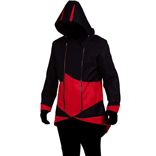 Cos2be Hoodie Jacket Coat (Black&Red,Men-XXL)