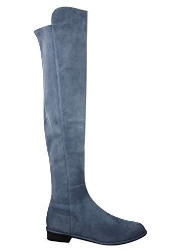 Stuart Weitzman Women's Allgood Denim Blue Suede Low Heel Knee Boot (US 10)