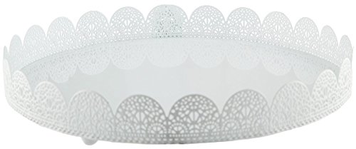 Design Metal Stand (White Metal Cake Stand - Lace Design Perfect for Wedding, Quinceanera, Sacraments, Baby Shower Desserts - 10 x 1.5 Inches)