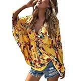 Jinjin Women Blouse-Casual Boho Floral Batwing Sleeve High Waist Beach Tops (Yellow, L)