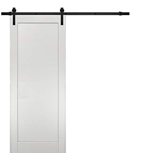 Sliding Barn Door 42 x 96 with Hardware | Quadro 4111 White Ash | Top Mount 8FT Rail Hangers Sturdy Set | Modern Solid…