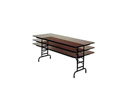 Wood & Style Office Home Furniture Premium 01 Melamine Adjustable Height Top Folding Table, Rectangular, 24 Width x 48 Length x 22 to 32 Height, Walnut