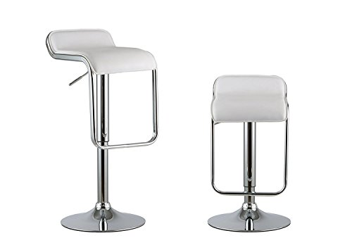 Waroom Home Barstools Set of 2, Adjustable Height Swivel Pub Bar Stools with PU Leather Seat and Chrome Footrest, Backless Breakfast Kitchen Chair (3-White)