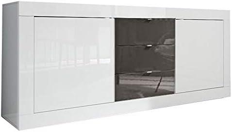 LIGNEMIEBLE LIO LACADO BLANCO Y GRIS SEDOR COMEDOR MODERNO Moderno: El aparador 2 puertas 3 cajones: Amazon.es: Hogar