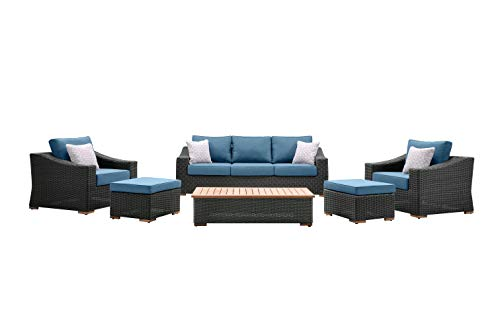 La-Z-Boy Outdoor New Boston 6 Piece Wicker Patio Set: Sofa, Two Lounge Chairs, Two Ottomans and Coffee Table (Denim Blue) For Sale