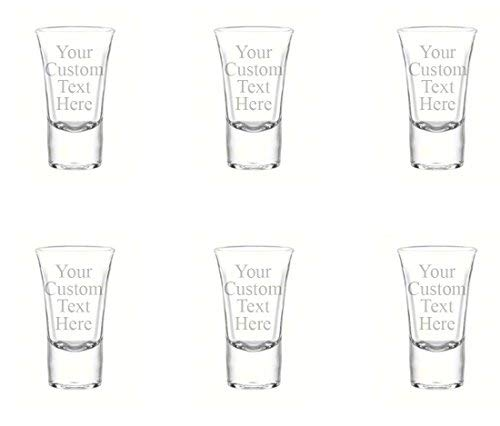 (Personalized Set of 6 DOUBLE SIDED Custom Shot Glass Glasses (1.75oz) Free Engraving Groomsman and Bridesmaid Wedding Favor Gift (Double Side)