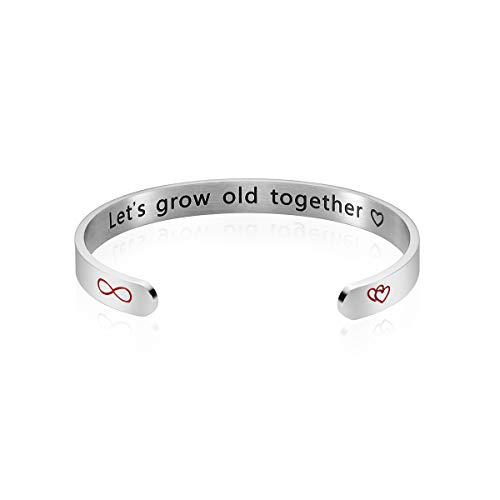 iWenSheng Lets Grow Old Together Bracelet, Perfect Jewelry Gifts for Wife Girlfriend, for Her Women