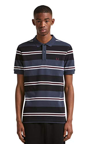 Fred Perry Men's Contrast Stripe Pique Shirt, Black, - Pique Fred Black Perry