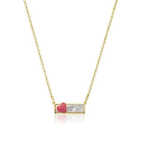 Little Miss Twin Stars Girls' 14k Gold-Plated and Mother-Of-Pearl Bar Chain Accented with Enamel Heart Pendant Necklace, 15