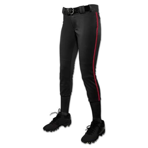 CHAMPRO Women's Tournament Fastpitch Pant with Piping Black/Scarlet Small