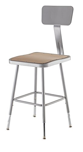 Steel Backrest - National Public Seating 6318HB Steel Stool with Square Hardboard Seat Adjustable and Backrest, 19