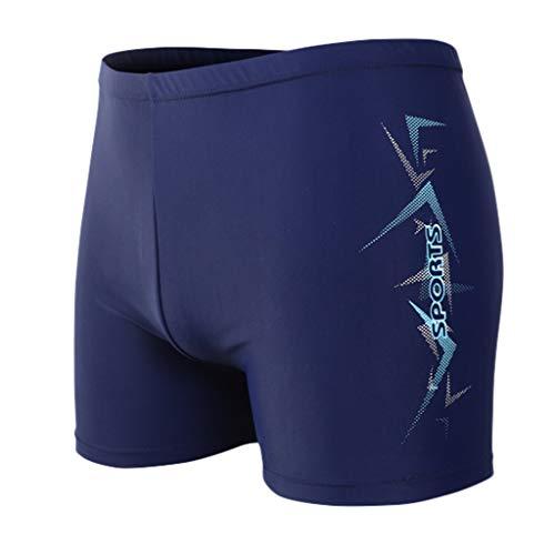 (Tomppy Men's Swim Trunks Printing Breathable Built-in Beam Line Boxer Briefs Bathing Suits Sportwear Beach Surf Shorts Blue)
