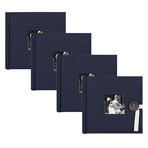 DesignOvation Kim Fabric Photo Albums with Ribbon and Button Closures, Holds 200 4x6 Photos, Set of 4, Navy (Closure Holds)