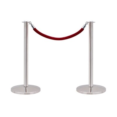 2 x VIP Queue Barrier Posts for Rope in Polished Stainless Steel by True Products B8066A