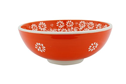 Handmade Ceramic Soup and Cereal Bowl with flowers - 16 different colors and patterns - 6 inch - 16 oz great serving Bowls for Fruit, Salad, Ice Cream, rice mother day gifts (Greek orange) (Bowl Flowers Rim Soup)