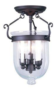 Livex Lighting 5061-07 Jefferson 3 Light Bronze Bell Jar Semi Flush with Clear Glass ()