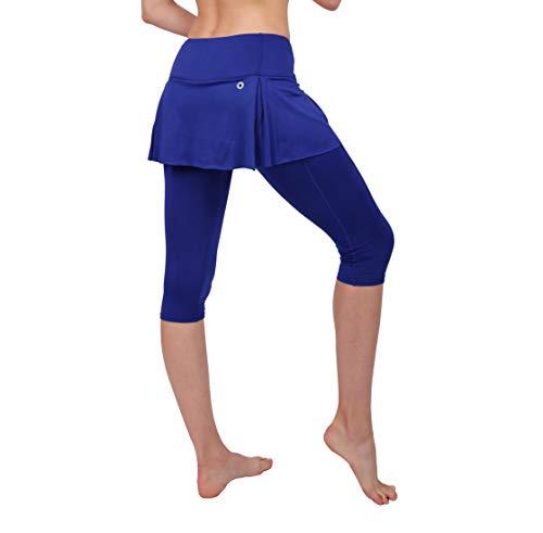Women Blue Skirted Leggings Sport Capris Pants Running Tights with Pockets Athletic Capri 6