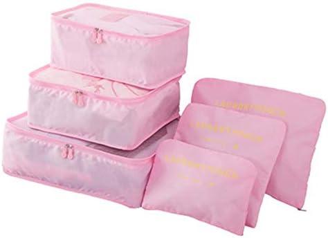 トラべラブ圧縮バッグ オックスフォード布旅行6ピースドキュメント荷物仕上げ6ピース収納バッグ トラベルポーチ 出張 旅行 便利グッズ (Color : Pink, Size : Free size)