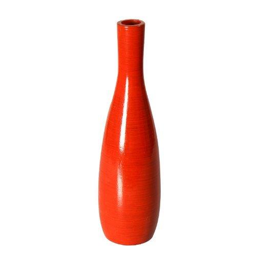 Adeco Decorative Gloss Finish Slim Neck Design Tall Wood Vase, Red, (Red Rectangular Vases)