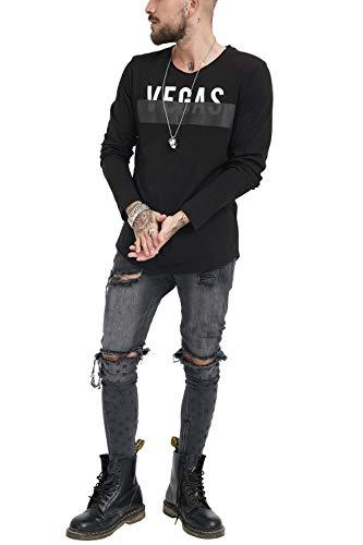 Fit Slim Ropa V Retro Vestir Urban Estampado Designer Casual Larga Hombre Cool Trueprodigy 1183107 Moda Marca Manga Color Fashion Rock Black Longsleeve Camiseta Vintage Cuello Negro 2999 xZaAXw7