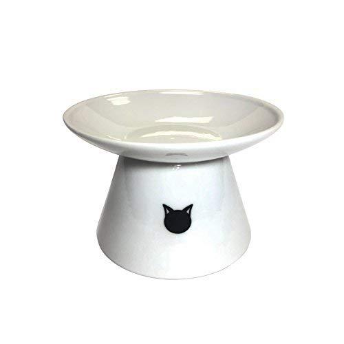 Binkies Pet Supply Elevated Cat Bowl - Raised Porcelain Dish - Perfect for Wet and Dry Cat Food (White)