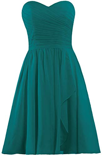 Chiffon Satin Corset - ANTS Women's Sweetheart Short Bridesmaid Dresses Chiffon Wedding Party Dress Size 4 US Teal