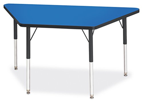 Berries 6438JCA183 Trapezoid Activity Tables, A-Height, 24'' x 48'', Blue/Black/Black by Berries