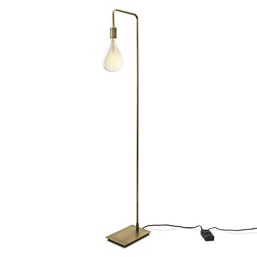 Modern Brass Floor Lamp, Contemporary Style Reading Light, Plugin, in-line Dimmer Included, ETL Listed, Hoyt Design by Brooklyn Bulb Co ()