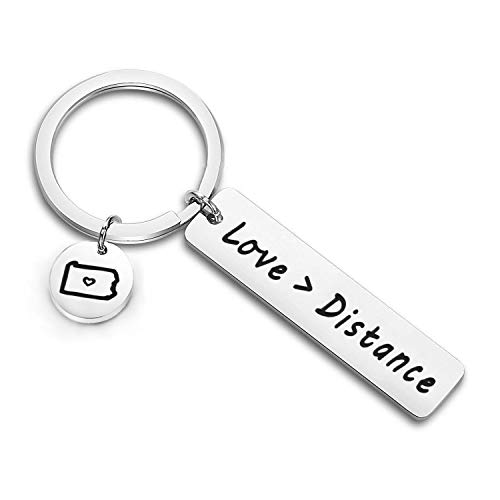 - Zuo Bao Long Distance Relationship Keychain Love is Greater Than Distance Keyring Boyfriend Gift Girlfriend Gift Going Away Gift State Keychain (Pennsylvania)