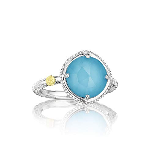 Tacori SR13505 Sterling Silver Island Rains Bold Clear Quartz Over Synthetic Turquoise Ring, Size 7 ()