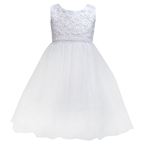 Flower Baby Girl Lace Dress - Kids Princess Pageant Party Wedding Dresses  White XXL(3-4Year)