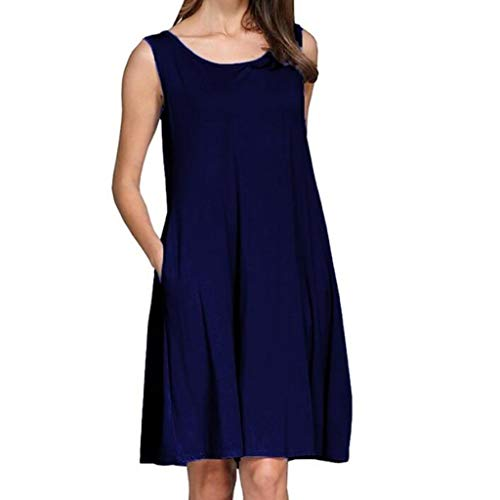 (Casual Tank Dresses for Womens Solid Sleeveless Round Neck Summer Loose Fit T-Shirt Dress (M, Blue))