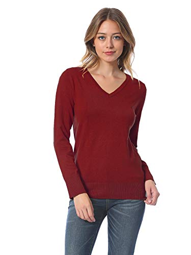 Instar Mode Women's Soft Basic Classic Long Sleeve Knit Sweater Top Burgundy S ()