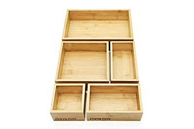 5-Piece Bamboo Storage Box & Organizer Set. Multi-Sized Set of 5-100% eco-Friendly Bamboo Boxes- Perfect Size for Office, Jewelry, Junk, Bath/Bedroom Drawers, or Anywhere Around The Home