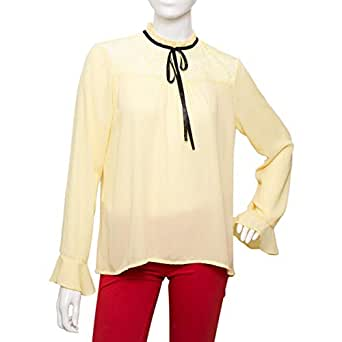 Parkhande Yellow Polyester High Neck Blouse For Women