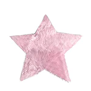 Machine Washable Faux Sheepskin Cotton Candy Pink Star Rug 2′ x 2′ – Soft and silky – Perfect for baby's room, nursery, playroom – Fake fur area rug (Star Small Cotton Candy Pink)