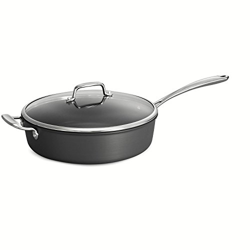 Tramontina 80123/516DS Gourmet Hard Anodized Non-Stick Covered Saute Pan, 5 Quart, Made in USA, Gray