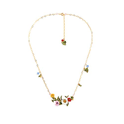 xquisite Cloisonné Handmade Enamel Necklace for Women, Vintage Real Gold, Multi Stones, Beautiful Daisy ()