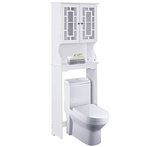 - Giantex Over-The-Toilet Bathroom Storage Space Saver with Shelf Collect Cabinet, White (2 Door w/Delicate Design Shelf)