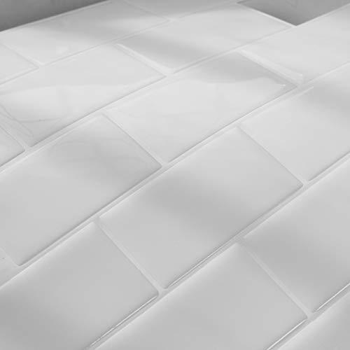 FARONZE Peel and Stick Tiles Backsplash Subway Tiles Self Adhesive Wall Tiles for Kitchen & BathroomWhite Color 10
