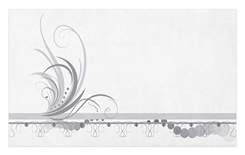 Dot Swirl Border (Ambesonne Grey Doormat, Ornament Border with Artistic Swirls Dots in Rococo Style Renaissance Details, Decorative Polyester Floor Mat with Non-Skid Backing, 30 W X 18 L Inches, Pale Grey White)