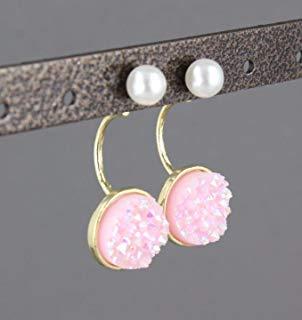 Pink druzy earrings ear jacket front back dangle earrings double look -