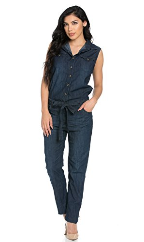 Sleeveless Button Up Dark Denim Belted Jumpsuit (Plus Sizes Available)