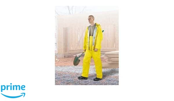 Size 2XL OnGuard Industries ONGUARD 74534 2-Ply PVC Economy Jacket with Attached Hood Yellow//Silver