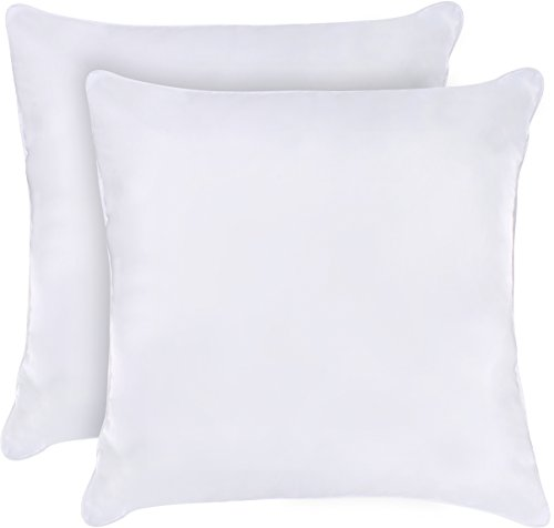 Utopia Bedding Decorative Pillow Insert (Pack of 2, White) – Square 18×18 Sofa and Bed Pillow – Microfiber Cover Indoor White Pillows