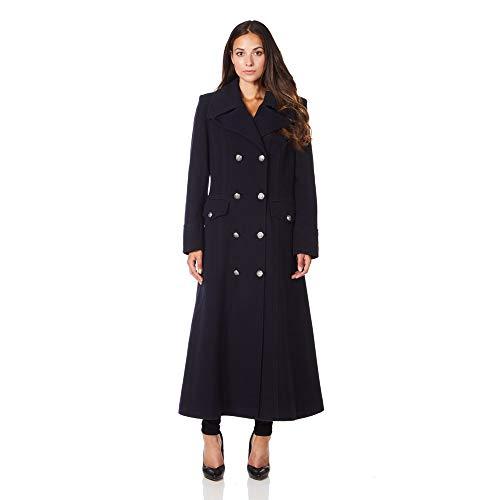 De La Creme Womens Navy Blue Long Military Wool Cashmere Winter Coat Size 10