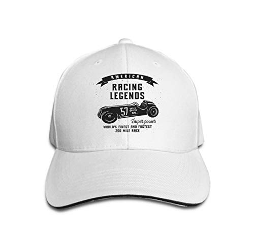 Trucker Hat Unisex Adult Baseball Mesh Cap Racing car Speed Racer Graphic American Race Vintage Poster White