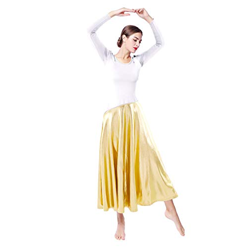 Trumpets Ceremonial - OwlFay Metallic Color Block Praise Dance Dresses for Women Long Sleeve Full Length Liturgical Lyrical Ballet Dancewear Loose Fit Ruffle Swing Gown Tunic Circle Skirt Ballroom Worship Costume White XL